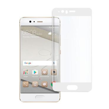 9D цялостен стъклен протектор за Huawei P10, Hicute, Цяло лепило, Бял