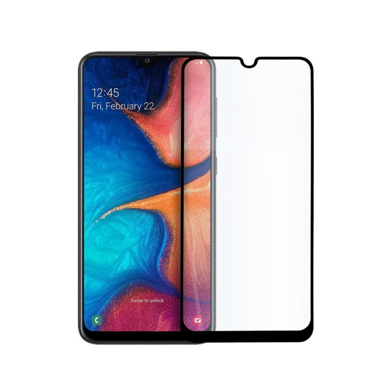 9D цялостен стъклен протектор за Samsung Galaxy A20, Hicute, Цяло лепило, Черен