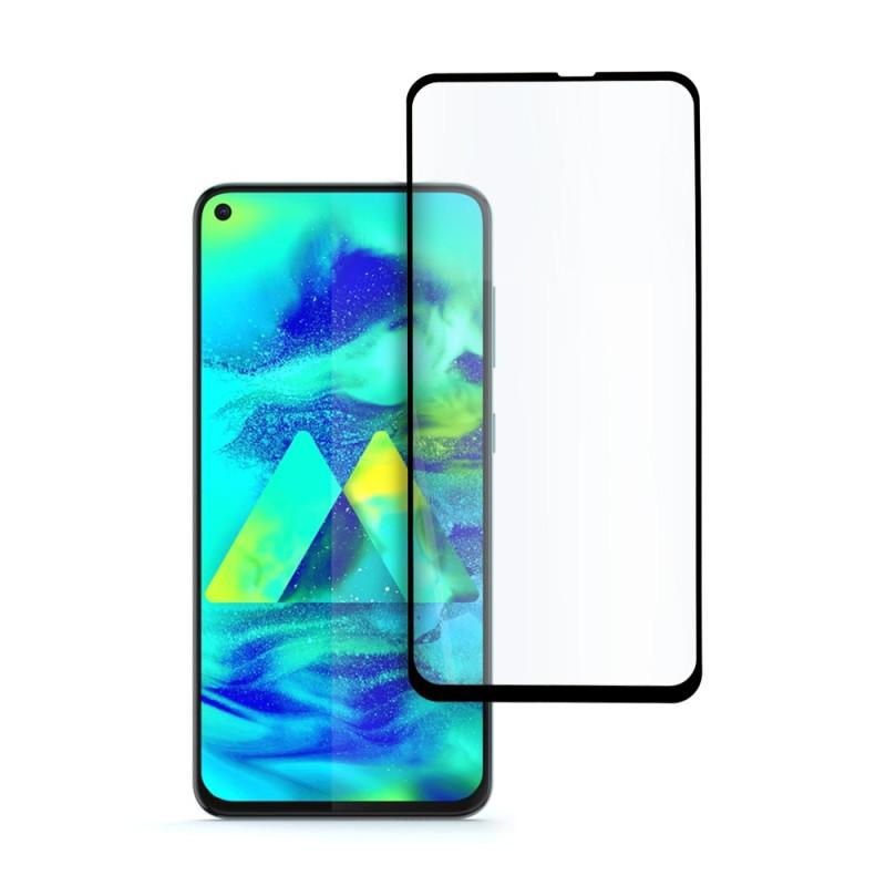 9D цялостен стъклен протектор за Samsung Galaxy M40, Hicute, Цяло лепило, Черен
