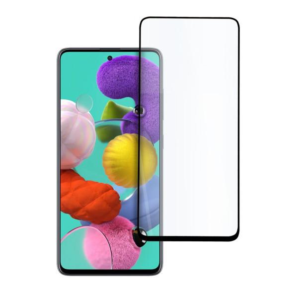 9D цялостен стъклен протектор за Samsung Galaxy A51, Hicute, Цяло лепило, Черен
