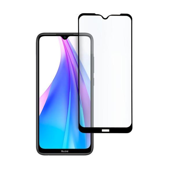 9D цялостен стъклен протектор за Xiaomi Redmi Note 8T, Hicute, Цяло лепило, Черен