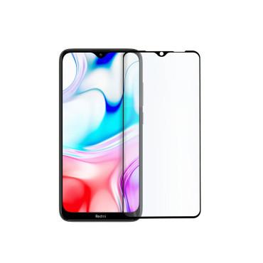 9D цялостен стъклен протектор за Xiaomi Redmi 8, Hicute, Цяло лепило, Черен