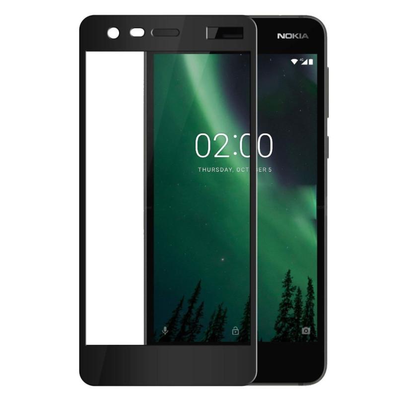 Иновативен 5D стъклен протектор за цял дисплей за Nokia 2, Hicute, Цяло лепило, Черен