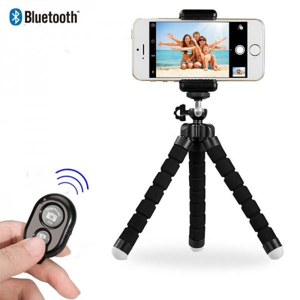 Трипод bluetooth стойка за телефон със сгъваеми крака, Универсална, Черна