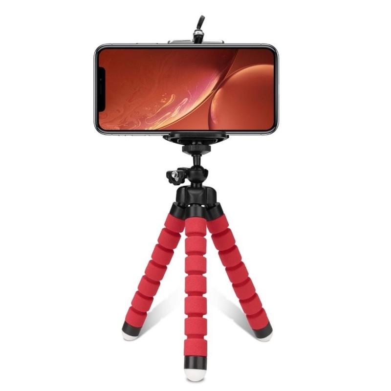Трипод bluetooth стойка за телефон със сгъваеми крака, Универсална, Червена