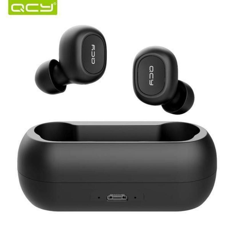 Безжични Слушалки QCY TWS T1C-RX с Външна Батерия за Зареждане, Bluetooth 5.0, Черни