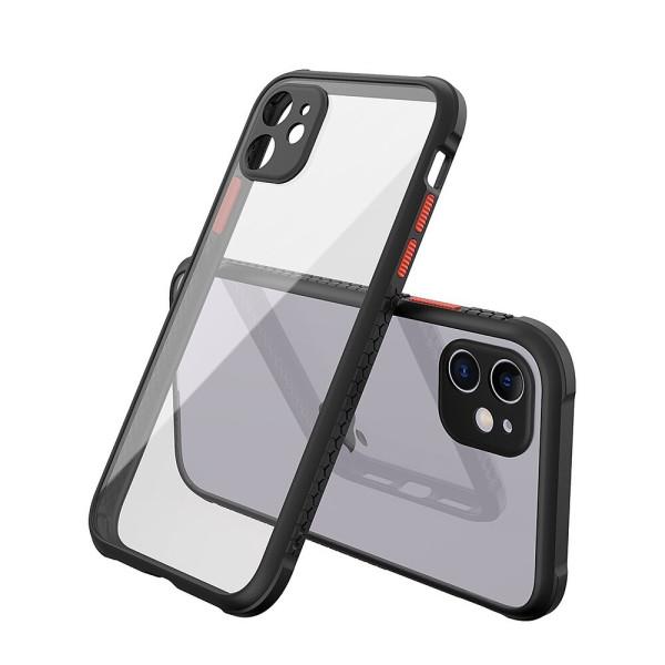 Удароустойчив Кейс за iPhone 12 Mini, Гумирани краища, Прозрачен, Защита за камерата, Черен