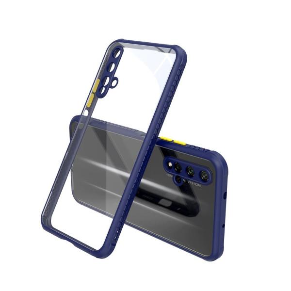 Удароустойчив Кейс за Huawei Nova 5T, Гумирани краища, Прозрачен, Защита за камерата, Син