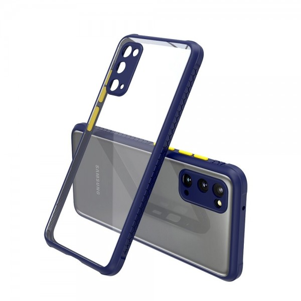 Удароустойчив Кейс за Samsung Galaxy S20, Гумирани краища, Прозрачен, Защита за камерата, Син