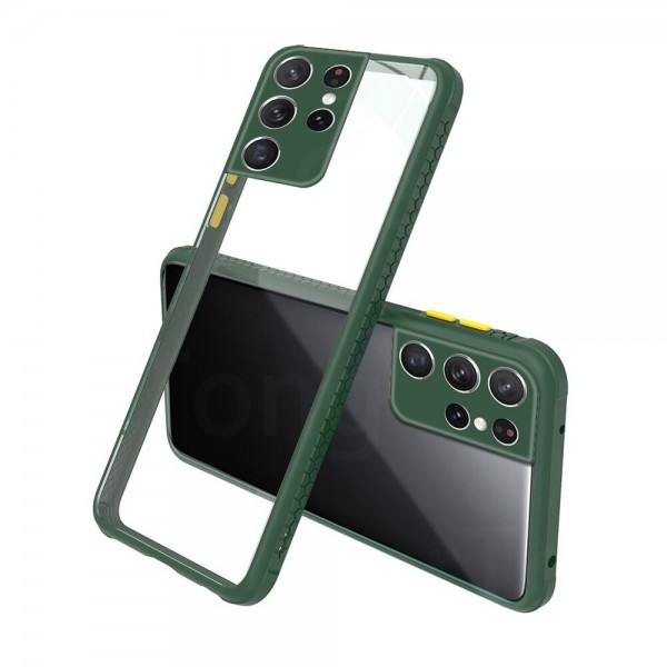 Удароустойчив Кейс за Samsung Galaxy S21 Ultra, Гумирани краища, Прозрачен, Защита за камерата, Тъмнозелен