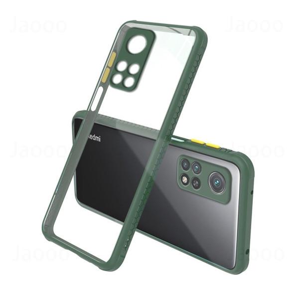 Удароустойчив Кейс за Xiaomi Mi 10T, Гумирани краища, Прозрачен, Защита за камерата, Тъмнозелен