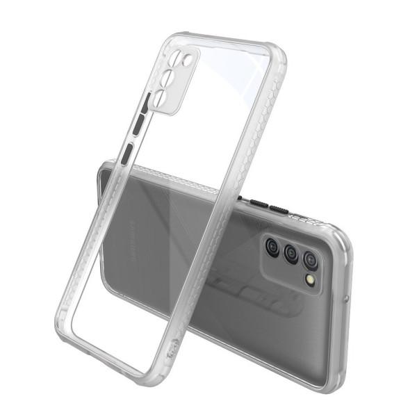 Удароустойчив Кейс за Samsung Galaxy A02s, Гумирани краища, Прозрачен, Защита за камерата, Бял