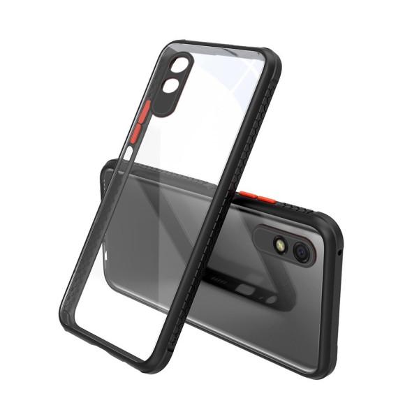 Удароустойчив Кейс за Xiaomi Redmi 9A, Гумирани краища, Прозрачен, Защита за камерата, Черен