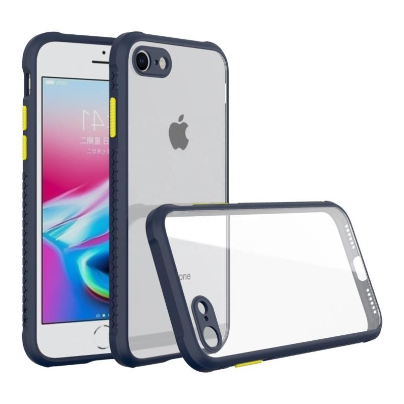 Удароустойчив Кейс за iPhone 7/8, Гумирани краища, Прозрачен, Защита за камерата, Син