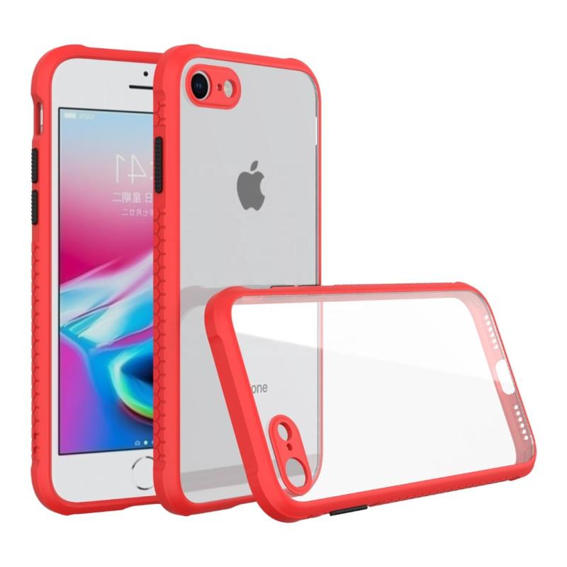 Удароустойчив Кейс за iPhone 7 Plus/8 Plus, Гумирани краища, Прозрачен, Защита за камерата, Червен