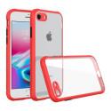Удароустойчив Кейс за iPhone 7/8, Гумирани краища, Прозрачен, Защита за камерата, Червен