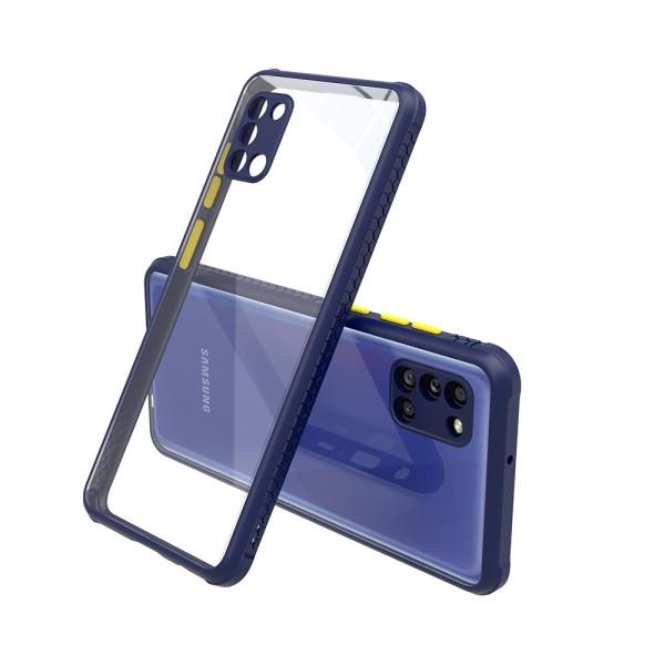 Удароустойчив Кейс за Samsung Galaxy A31, Гумирани краища, Прозрачен, Защита за камерата, Син