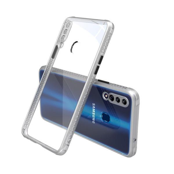 Удароустойчив Кейс за Samsung Galaxy A20s, Гумирани краища, Прозрачен, Защита за камерата, Бял