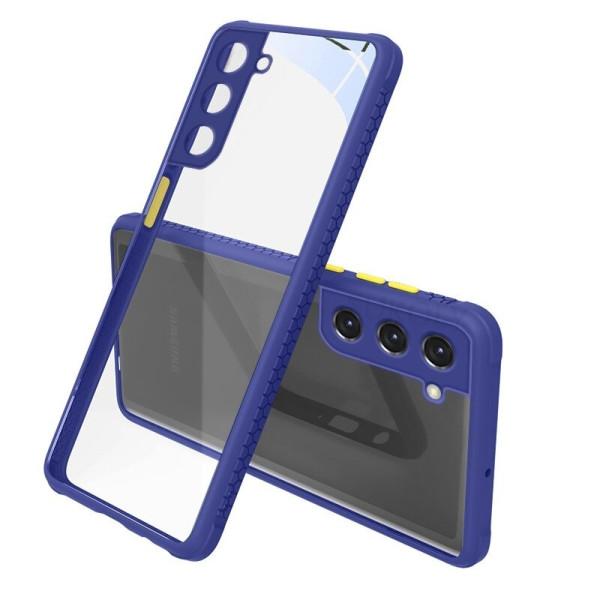 Удароустойчив Кейс за Samsung Galaxy S21 Plus, Гумирани краища, Прозрачен, Защита за камерата, Син