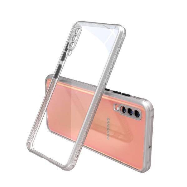 Удароустойчив Кейс за Samsung Galaxy A70, Гумирани краища, Прозрачен, Защита за камерата, Бял