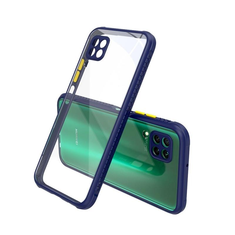 Удароустойчив Кейс за Huawei P40 Lite, Гумирани краища, Прозрачен, Защита за камерата, Син
