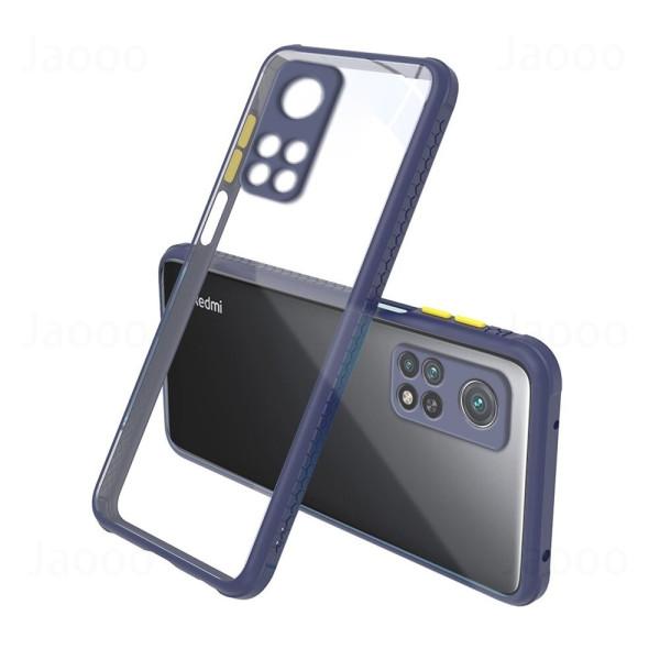 Удароустойчив Кейс за Xiaomi Mi 10T Pro, Гумирани краища, Прозрачен, Защита за камерата, Син