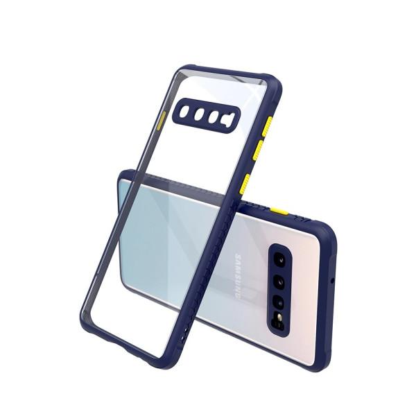 Удароустойчив Кейс за Samsung Galaxy S10, Гумирани краища, Прозрачен, Защита за камерата, Син