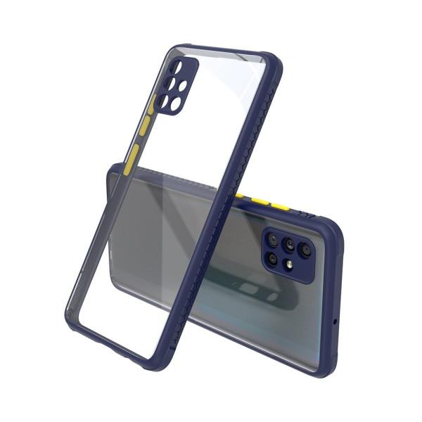 Удароустойчив Кейс за Samsung Galaxy A71, Гумирани краища, Прозрачен, Защита за камерата, Син