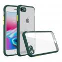 Удароустойчив Кейс за iPhone 7 Plus/8 Plus, Гумирани краища, Прозрачен, Защита за камерата, Тъмнозелен