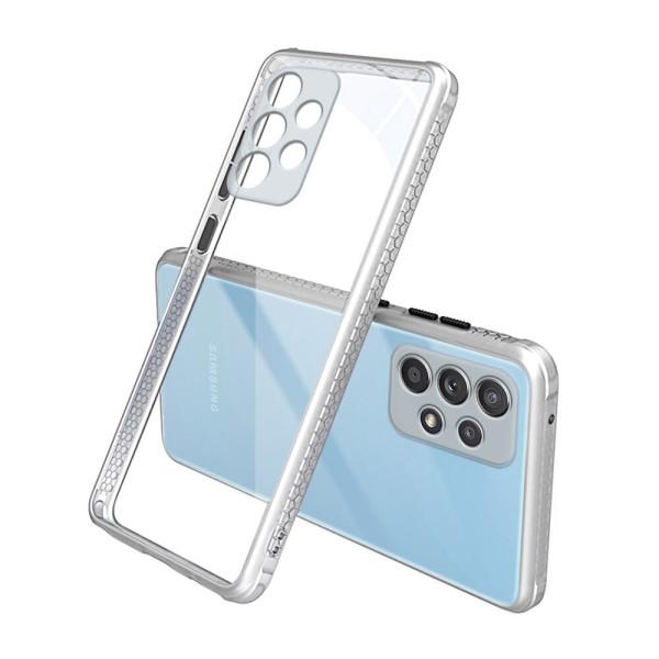 Удароустойчив Кейс за Samsung Galaxy A52, Гумирани краища, Прозрачен, Защита за камерата, Бял