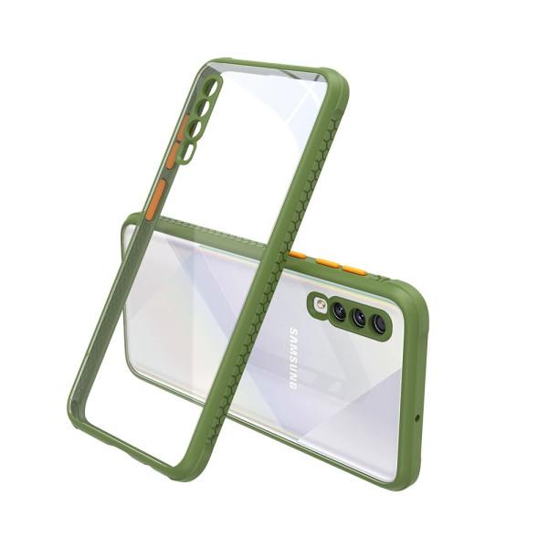 Удароустойчив Кейс за Samsung Galaxy A50s, Гумирани краища, Прозрачен, Защита за камерата, Светлозелен