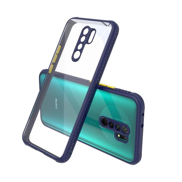 Удароустойчив Кейс за Xiaomi Redmi 9, Гумирани краища, Прозрачен, Защита за камерата, Син