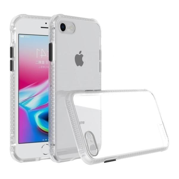 Удароустойчив Кейс за iPhone SE 2020, Гумирани краища, Прозрачен, Защита за камерата, Бял