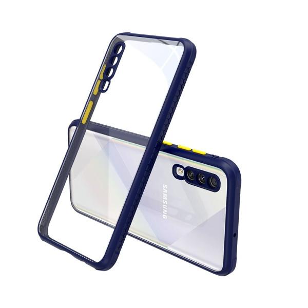 Удароустойчив Кейс за Samsung Galaxy A30s, Гумирани краища, Прозрачен, Защита за камерата, Син