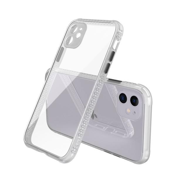 Удароустойчив Кейс за iPhone 11, Гумирани краища, Прозрачен, Защита за камерата, Бял