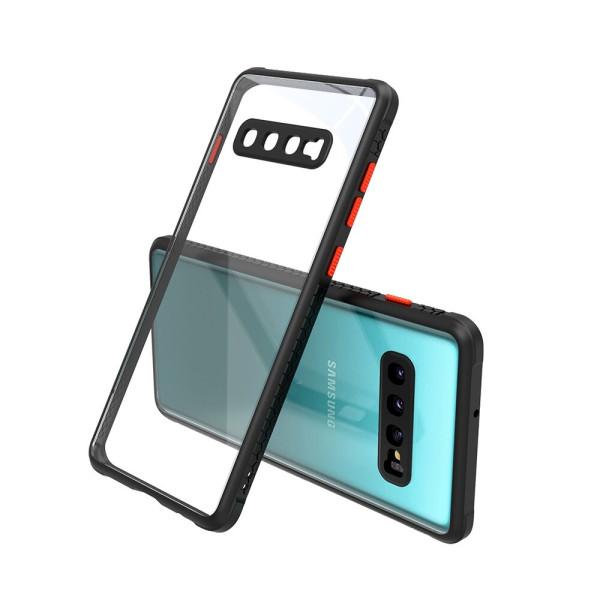 Удароустойчив Кейс за Samsung Galaxy S10 Plus, Гумирани краища, Прозрачен, Защита за камерата, Черен