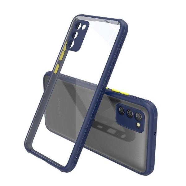 Удароустойчив Кейс за Samsung Galaxy A02s, Гумирани краища, Прозрачен, Защита за камерата, Син