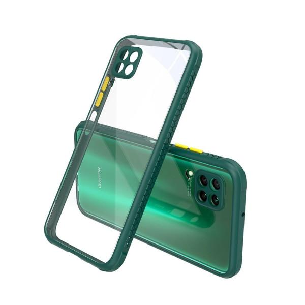 Удароустойчив Кейс за Huawei P40 Lite, Гумирани краища, Прозрачен, Защита за камерата, Тъмнозелен