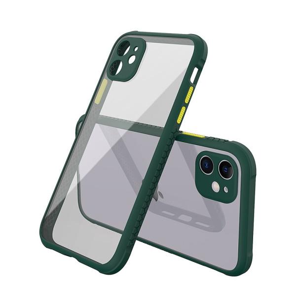 Удароустойчив Кейс за iPhone 11, Гумирани краища, Прозрачен, Защита за камерата, Тъмнозелен