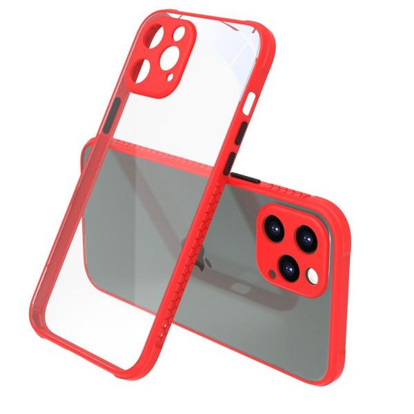 Удароустойчив Кейс за iPhone 12 Pro, Гумирани краища, Прозрачен, Защита за камерата, Червен