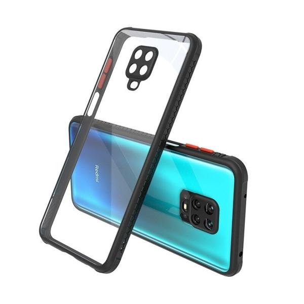Удароустойчив Кейс за Xiaomi Redmi Note 9s, Гумирани краища, Прозрачен, Защита за камерата, Черен